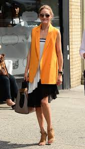 olivia palermo u0027s paul and joe orange vest and zara skirt worn as a