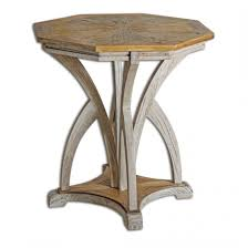 White Accent Table by Uttermost Ranen Aged White Accent Table