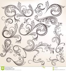 collection of vector swirl ornaments in vintage styl