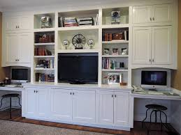 Family Room Den Built In Cabinets With Desks White Painted - Family room built ins