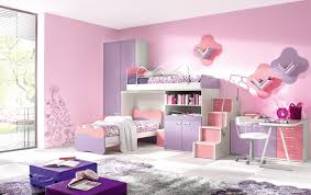 pretty twin girls bedroom with pink and purple color scheme