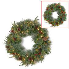 battery operated wreath national tree company 24 colonial wreath with battery operated dual