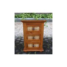matchstick 3 drawer nightstand in mango wood at