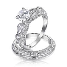 925 silver vintage teardrop wedding engagement ring set
