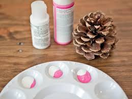 how to make ombre painted pinecone ornaments hgtv crafts
