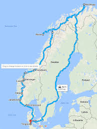 Norwegian Air Route Map by Highlights From A Scenic Road Trip Along The Entire Length Of