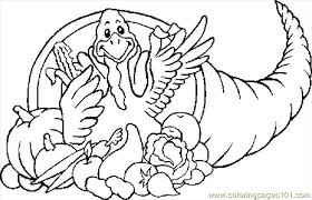 cornucopia turkey coloring page free thanksgiving day coloring