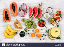 raw fruits background healthy food concept top view stock photo
