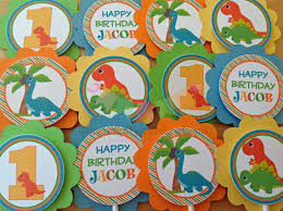 personalized cupcake toppers set of 12 personalized dinosaur cupcake toppers dinosaur