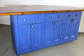 hand crafted blue kitchen island from reclaimed wood by