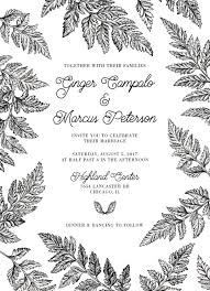 black and white fern wedding invitations set printed green