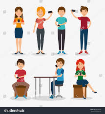 smartphone addiction concept modern lifestyle stock vector