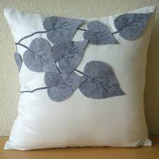 Pillow Covers For Sofa by White Decorative Pillows Cover Square Leaf Felt Applique