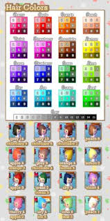 all acnl hairstyles with colours animal crossing new leaf hair dos animal crossing new leaf hair