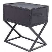 bout de canapé noir bout de canapé industriel pieds tiroir métal noir martelé