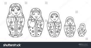 russian dolls matrioshka outlined coloring book stock vector