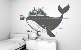 giant kids wall decals by e glue studio at coroflot com whale island giant wall sticker for baby nursery or kids room