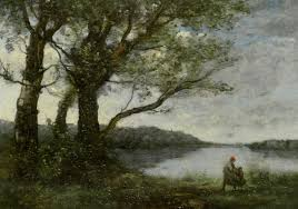 three trees with a view of the lake camille corot wikiart org