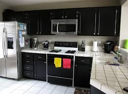 kitchen ideas with stainless steel appliances white ceramic countertop and corner black cabinet for small