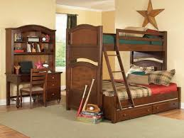 untreated wooden bunk bed built ladder combination with gray polished iron bunk bed using black linen and red blanket