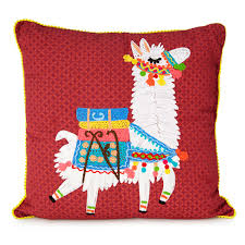 lounge llama embroidered pillow unique home decor handmade