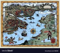Fantasy Map Antique Fantasy Map Royalty Free Vector Image Vectorstock