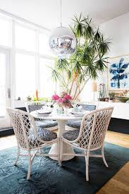 Modern Blue And White Dining Room Design With A Palm Tree Theme - Blue and white dining room