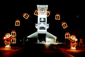 Lighted Christmas Outdoor Decorations by Commercial Lighted Arches For Drive Thru Parks And City Streets