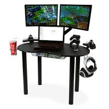 Gaming Desk Atlantic Eclipse Gaming Desk With Black Steel Legs Black Carbon