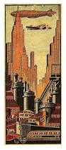 1930s matchbook cover depicting art deco downtown with all the