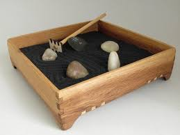 mini zen garden karesansui with black sand red oak garden box