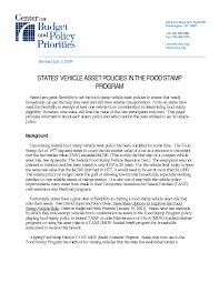 states u0027 vehicle asset policies in the food stamp program center