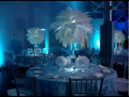 sweet 16 cinderella theme winter themed white ostrich feathers with mini feather