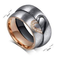 couples rings images Two tone matching but split heart couples rings with cz stones in gif