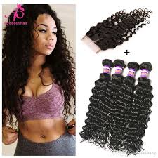 sew in wet and wavy 16in brazilian deep wave hair wet wavy hair 4bundles with closure 7a