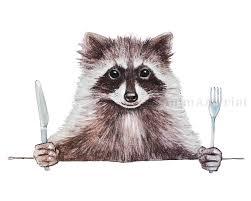 raccoon print funny animal art woodland animals baby nursery