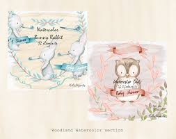 watercolor fox woodland baby shower invite birthday invitation