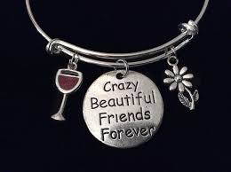 s charm bracelet beautiful friends forever wine glass expandable charm