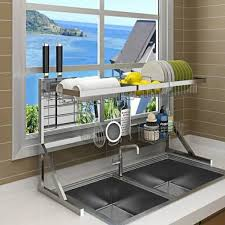 kitchen sink with cupboard for sale 64 84cm stainless steel drying bowl sink rack drain kitchen rack supplies 2 layer storage rack pool put dish rack cupboard