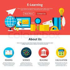 design online education electronic learning flat web design template vector illustration