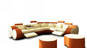 Sectional Sofa Furniture 3087 Modern Beige And Orange Leather Sectional Sofa And Coffee Table