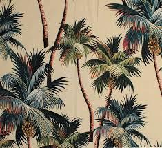 Palm Tree Wallpaper 11 Tropical Leaf Print Barkcloth Fabrics In 31 Colorways Vintage