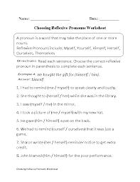 pronouns worksheets reflexive pronouns worksheets