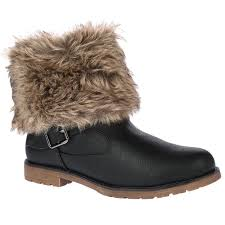 womens boots uk size 2 d9z womens fur collar warm winter flat pull on ankle boots
