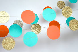paper garland in turquoise orange and gold double sided