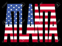 American Flag In Text Overlapping Atlanta Text With American Flag Illustration Stock