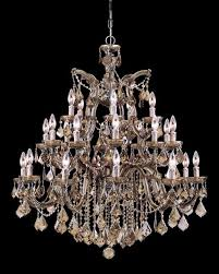 Swarovski Chandelier Crystals by Crystorama Crystorama Maria Theresa 26 Light Golden Teak