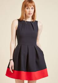 closet london luck be a lady a line dress in black u0026 red modcloth