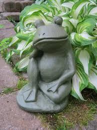 Cement Garden Decor Frog Garden Statue Relaxing Concrete Frog Cement Garden Art