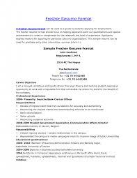 Resume Format Freshers Cover Letter Fresher Resumes Format Fresher Resume Format For